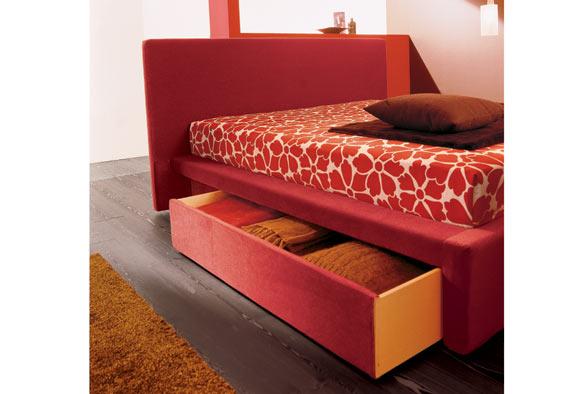 letto singolo sagomato con cassettone : Strutture disponibili: letto con cassettoni laterali bi-direzionali