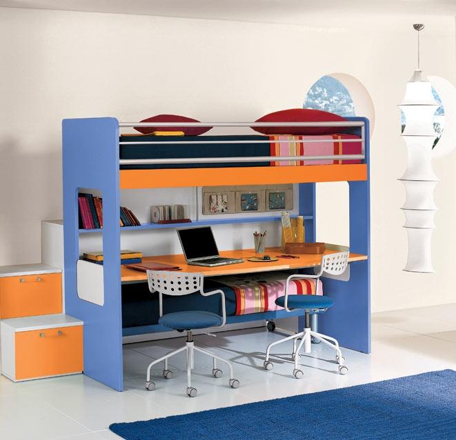 Castello happy con scrivania sotto - Letto a soppalco con scrivania ...