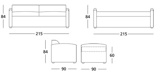 Misure standard letto singolo with misure standard letto for Misure divani