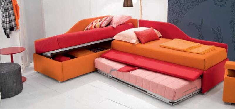 Letto imbottito joy venice divano con contentitore - Letto singolo imbottito con letto estraibile ...