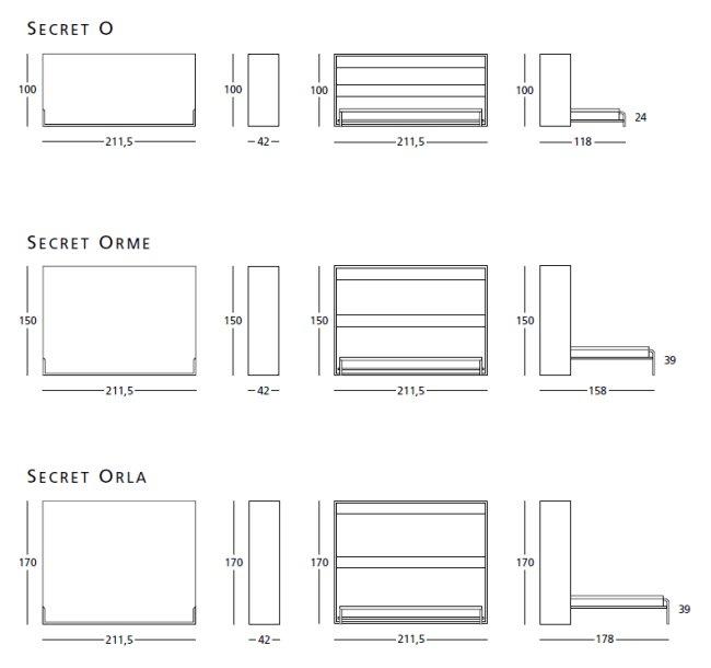 Mobile letto Secret a ribalta orizontale con rete a doghe