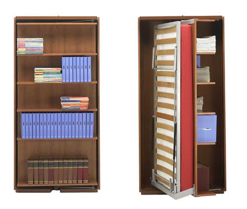 Letto a scomparsa singolo girevole - Libreria con letto a scomparsa ...