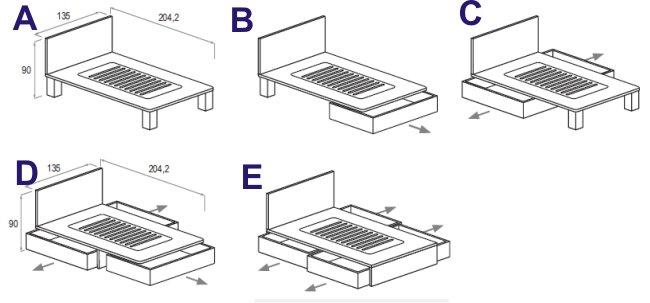 XBED Alfa: Letto da una piazza e mezzo con cassettoni