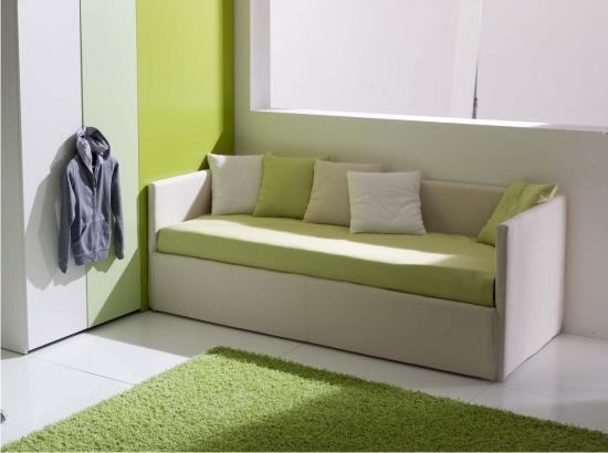 letto a divano imbottito in tessuto o ecopelle
