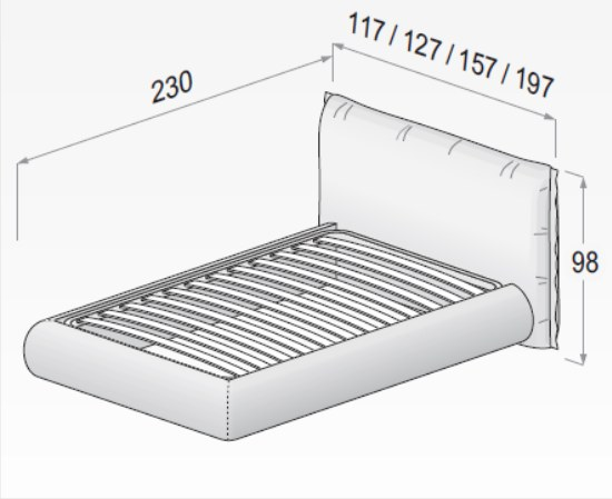 misure di un letto imbottito dielle