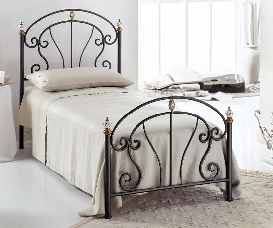 Bolero letto singolo in ferro battuto e ceramica
