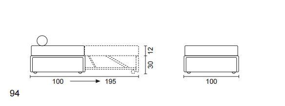 misure e meccanismo pouf letto